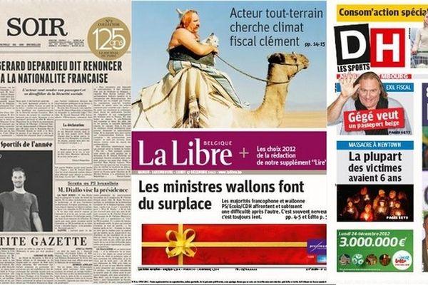 Quelques unes de la presse belge francophone ce lundi matin.