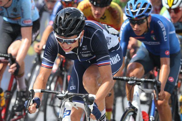 Eddy Le Huitouze lors du championnat d'Europe à Plouay en août 2020, pendant la course en ligne juniors hommes