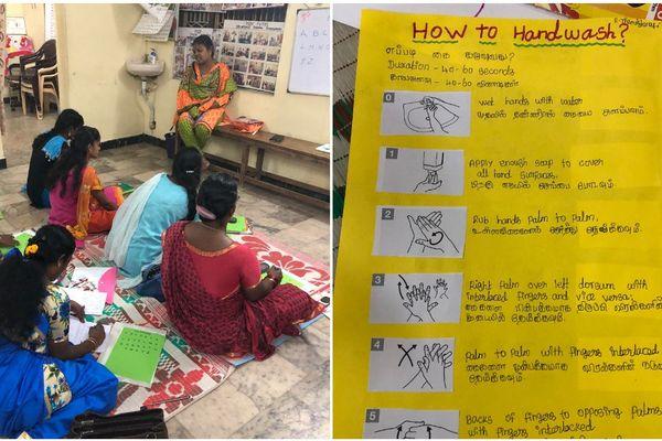 Pendant son congé solidaire®, Johanna travaille avec des femmes au sein d'une crèche et donne des conseils sur l'hygiène