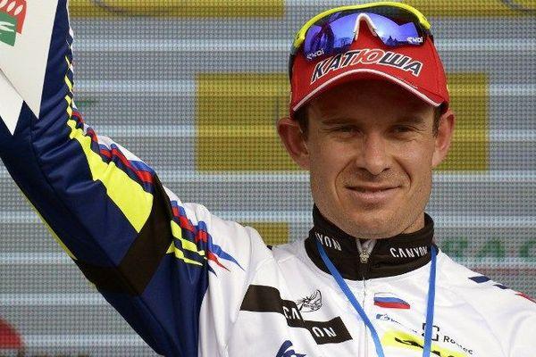 Alexander Kristof à l'arrivée de la 1ère étape du Paris-Nice - Contres (Loir-et-Cher) - 9 mars 2015