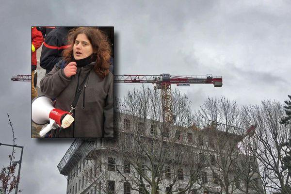 Rouen le 28 février 2020 : Sonia, mère d'un enfant handicapé, est restée 9 neuf heures en haut d'une grue pour alerter sur son cas et celui des autres mères qui attendent un AVS