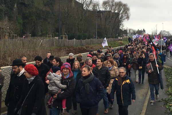 Les manifestants contre la réforme des retraites à Angers, le 9 janvier 2020