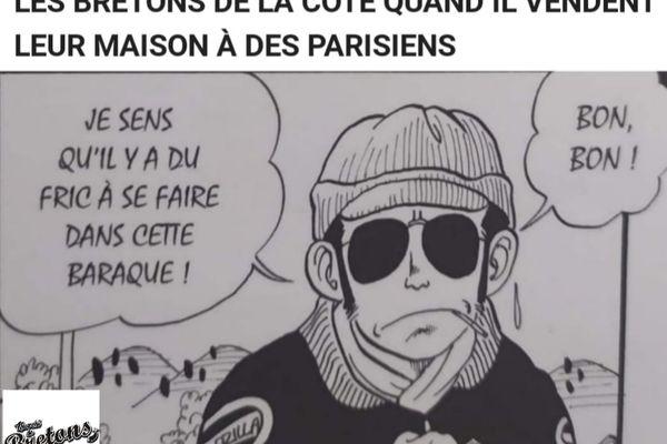 Ici, la hausse du prix de l'immobilier sur les côtes bretonnes illustrée à travers le personnage d'un manga.