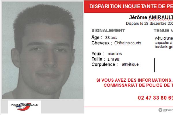 Appel à témoin pour la disparition de Jérôme Amirault.