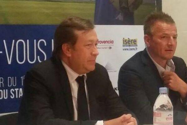 A droite: Olivier Guégan, nouvel entraîneur du GF38