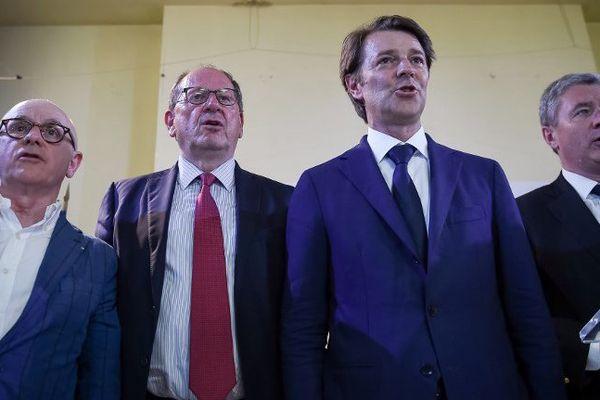 François Baroin en meeting à St Cyr sur Loire. Il est venu soutenir les candidats LR du 1er tour des législatives, Fabrice Boigard, Herve Novelli, et le maire de Saint-Cyr-sur-Loire, Philippe Briand.