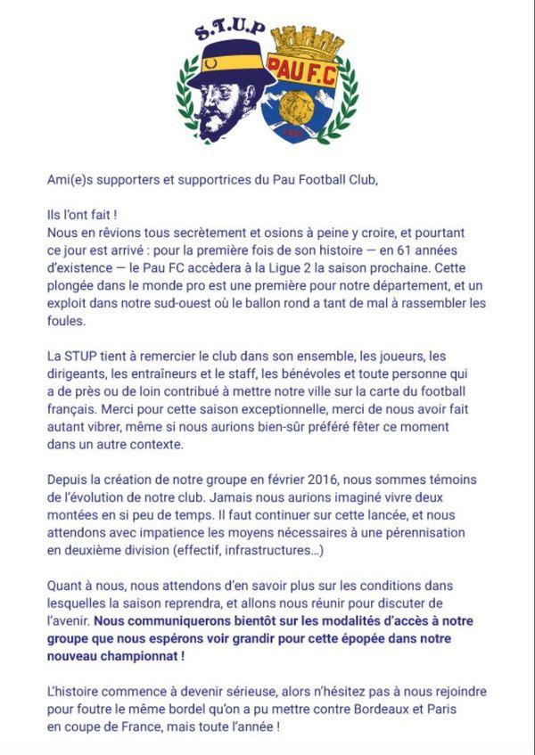 Les STUP, supporters de la tribune ultra paloise, invitent tous les supporters du Pau FC à rejoindre le groupe pour préparer la prochaine saison