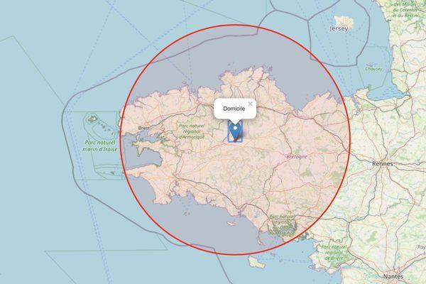 Votre zone de 100km autour de votre domicile est facile à obtenir