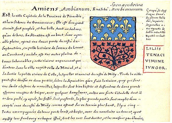 Extrait de l'armorial consacrés aux villes et aux provinces françaises de Pierre de La Planche - XVIIe siècle