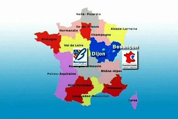 La grande région Bourgogne/Franche-Comté sera effective à partir du 1er  janvier 2016.