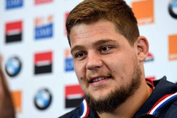 Le Sud-Africain est sélectionné pour jouer le match contre les pays de Galles. Ici, on le voit lors d'une conférence de presse, le 24 janvier 2019.