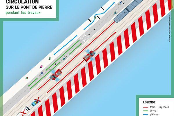 Schéma de la circulation sur le Pont de Pierre à partir du 19 avril 2021.