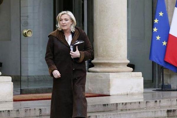 Marine Le Pen, le 9 janvier 2015, à l'issue d'une rencontre à l'Elysée avec le chef de l'Etat.