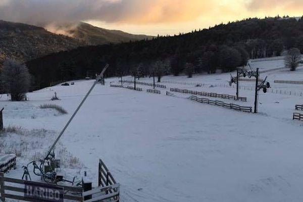 La station de ski du Markstein enneigée le lundi 18 novembre 2019.
