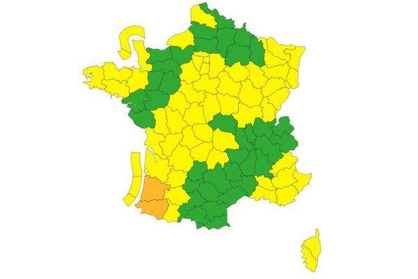Les Landes et les Pyrénées Atlantiques sont les seuls départements encore en vigilance orange.