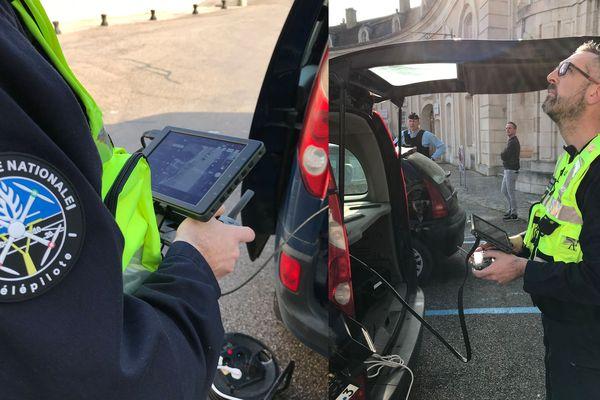 Le télépilote Yann Nicolas dirige le Mavic 2 Enterprise de la gendarmerie nationale au dessus de Commercy (Meuse) le 20 mars 2020. Sur cette opération il vient en appui de la compagnie de Commercy pour faire respecter les mesures de confinement.