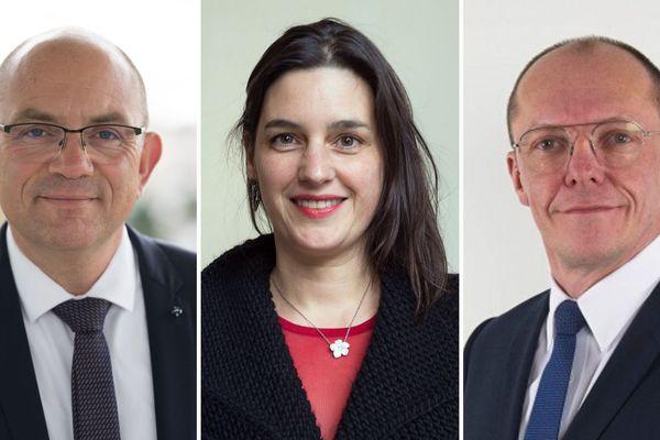 Brice Ravier (PS Pluralisme et solidarité), Thierry Boutard (LR/UDI) et Sandra Guichard (EELV)
