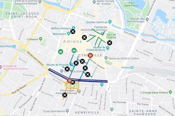 Les restrictions de circulation prévues dans le centre-ville d'Amiens pour la venue du président de la République Emmanuel Macron jeudi 21 et vendredi 22 novembre 2019.