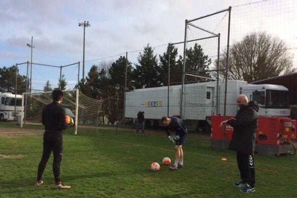 Les joueurs du LFC à l'entraînement
