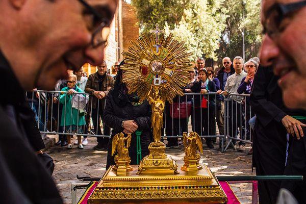 Ce vendredi saint 2020, les pénitents de l'archiconfrérie ont été contraints d'annuler la procession de la Sanch à Perpignan en raison de l'épidémie de coronavirus. Illustration de la procession du 19 avril 2019.