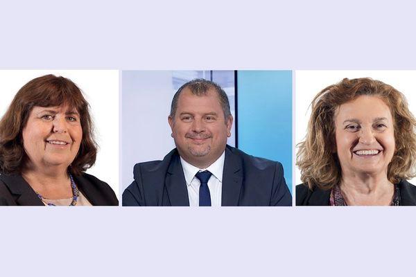 Mireille Robert, Alain Péréa et Danièle Hérin tous les trois élus aux législatives 2017 sous l'étiquette La République en Marche dans l'Aude.