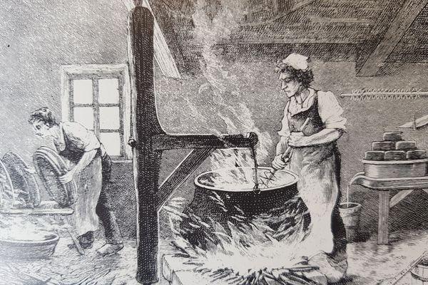 Avant la construction des chalets, les fromageries de village, le fromager travaillait de ferme en ferme.