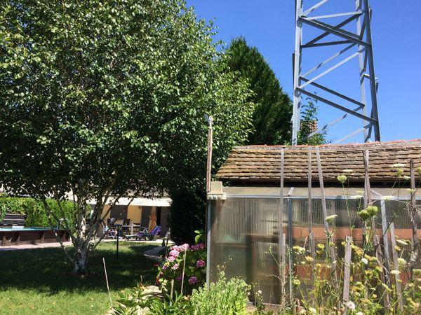 L'un des pylônes de la ligne haute tension est dans le jardin d'Izabel Carré, caché par les arbres et une petite serre