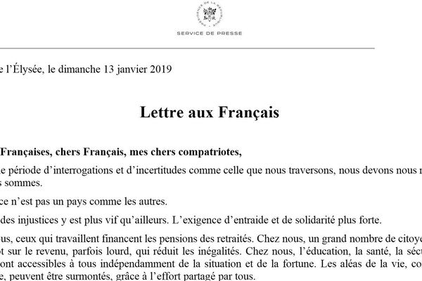 """La """"Lettre aux Français"""" rédigée par Emmanuel Macron, dimanche 14 janvier 2019."""