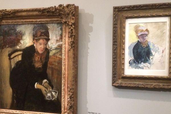 Mary Cassatt peinte par Degas (gauche) et par elle-même (droite).
