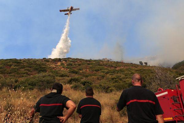 ILLUSTRATION - Intervention d'un Canadair lors d'un incendie à Poggio d'Oletta en août 2015.
