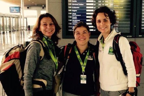 Raid & roses, l'équipe 25 du Raid de l'Arbre Vert 2014 : Maud Burtin, Frédérique Charmoille et Hélène Queru