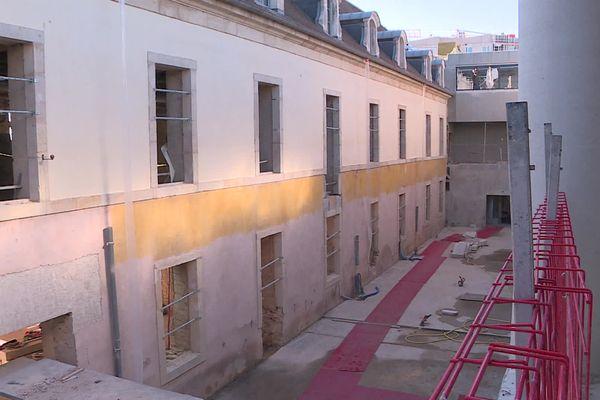 Le chantier de la Cité internationale de la Gastronomie et du Vin de Dijon, en mars 2021.