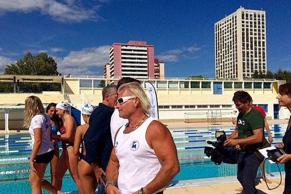 Montpellier - Philippe Lucas et ses nageurs au centre nautique Neptune - 4 septembre 2017.