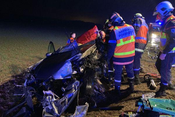 Intervention des pompiers suite à un accident sur la RN31 mercredi 6 février 2019
