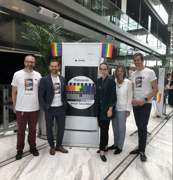 Les co-fondateurs de France.tv pour Tout.e.s avec Delphine Ernotte, lors de l'inauguration de l'association.