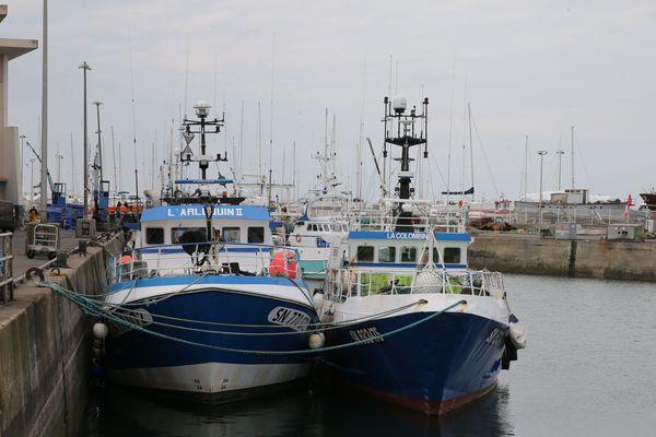 Dans le port de pêche de la Turballe, la moitié des bateaux doivent rester à quai pour limiter les débarquements.