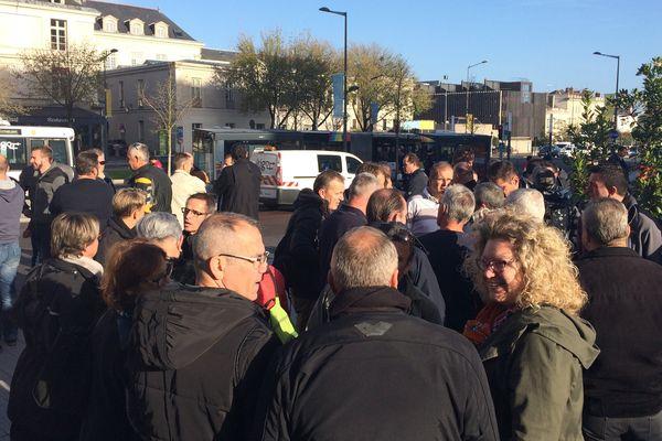 Mouvement de grève chez Keolis, ici à Angers le 20 octobre 2017