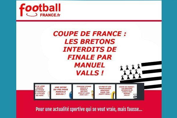 La page d'accueil du site d'informations parodiques FootballFrance.fr se joue de la finale de la Coupe de France
