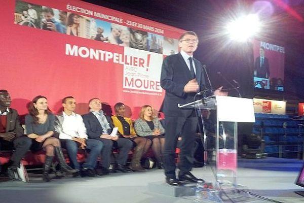Montpellier - Vincent Peillon intervient lors du meeting socialiste de Jean-Pierre Moure - 7 février 2014.
