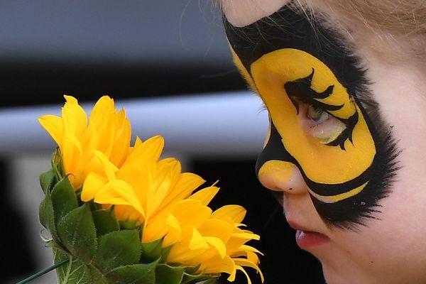 Une jeune fille vêtue d'un costume d'abeille, lors d'une manifestation appelant les États membres européens à protéger les abeilles en votant en faveur d'une interdiction totale des pesticides utilisés pour tuer les abeilles, devant la Commission européenne à Bruxelles le 27 avril 2018.