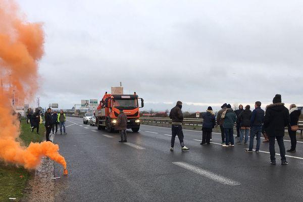 la RN 158 bloquée brièvement ce samedi 16 novembre 2019 par des Gilets jaunes