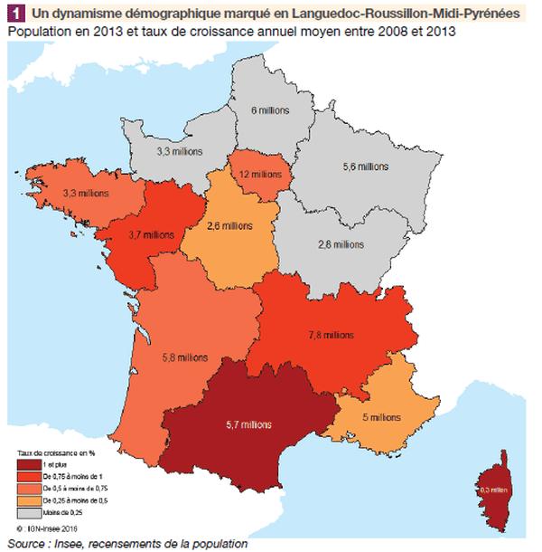 Le Languedoc-Roussillon-Midi-Pyrénées est la région de France au plus fort dynamisme économique après la Corse