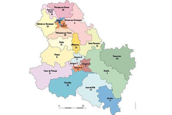 La carte des cantons a été redessinée en 2014 : on en compte désormais 21 dans l'Yonne (au lieu de 42).