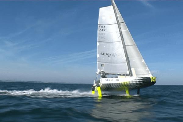 Premiers essais en mer du foil mis au point par l'entreprise SEAir.