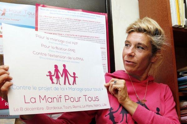 """""""Notre détermination est énorme"""", assure Frigide Barjot, chef de file de """"La manif pour tous"""", à l'origine du mouvement."""