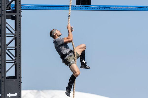 Maxime Guyon en pleine épreuve de grimper de corde aux championnats du monde de crossfit cet été, dans le Wisconsin (Etats-Unis).