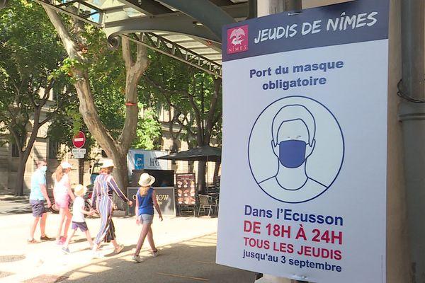 """Le port du masque est obligatoire dans l'Ecusson lors des """"jeudis de Nîmes"""" de 18 heures à minuit."""