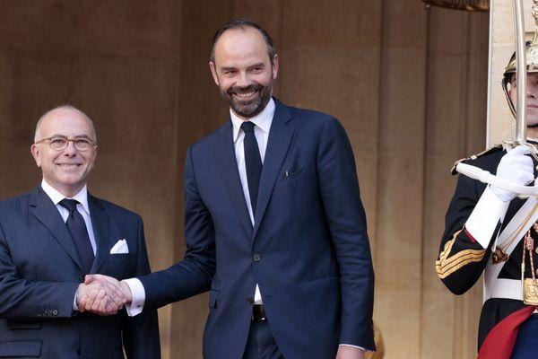 Edouard Philippe à Matignon ce lundi lors de la passation de pouvoir avec Bernard Cazeneuve