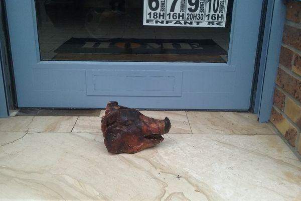 Le coiffeur a photographié cette tête de cochon, déposée devant son salon à Albert.