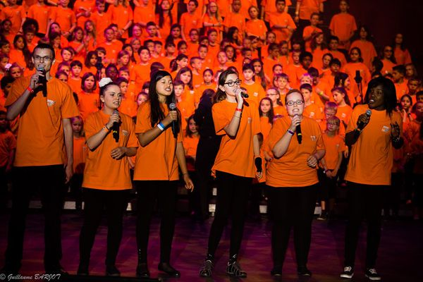 Les Gospel Kids en concert pour leur dixième anniversaire, au Palais des congrès de Strasbourg.